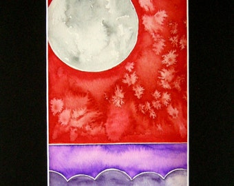 "Original Watercolor, abstract landscape, bright colors, full moon, 5""x7"", matted, ready to ship"