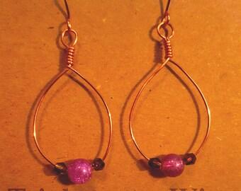 Tear drop copper wire wrapped ear rings