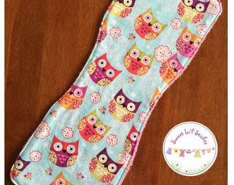 Handmade burp cloth - Owls with pink back