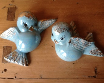 Vintage Blue Bird Lefton Style Wall Pockets Plaques Highlighted with Gold 1950s