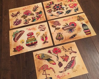 Original custom made tattoo flash SET OF 5- spring 2015 collection