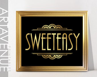 SWEETEASY Sign Printable Art Candy Bar Printable Gatsby Wedding Art Deco Sign - Faux Gold digital file - ADC1