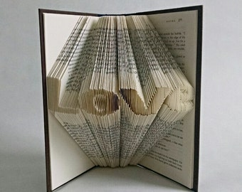 Creative Gift Ideas For Boyfriend - Long Distance Boyfriend Gift - Anniversary Gift - Folded Book Art Featuring the Word Love - Book Decor