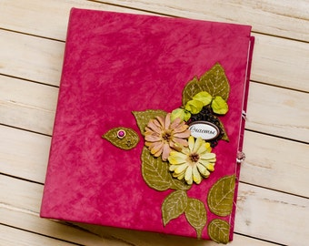 Sold! Wedding album, wedding gift, leather photo album, scrapbook album, baby photo album, pink family photo album, album leather cover