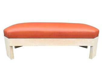 Modern leather bench, original bench in excellent condition.