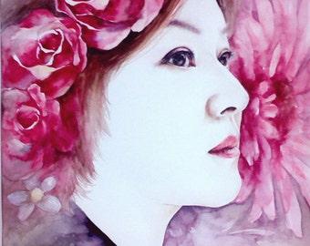 Custom portrait from photo/colorful portrait/Oriental portrait/portrait with flowers