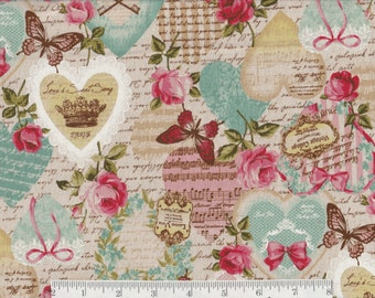 Vintage Collage - Per Yd - Beautiful Collage Cotton BLEND (80/20) Cream