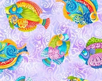 FUN! Jewels of the Sea - Per Yd - Quilting Treasures - Fish on purple