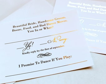 Gold Foil Wedding Invitation RSVP Song Request Cards Response Metallic