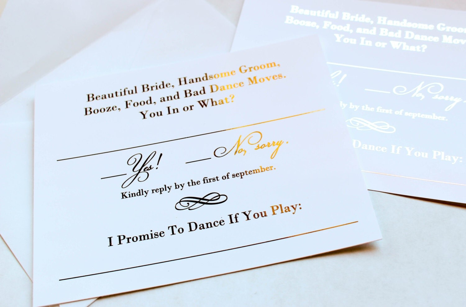 Gold Foil Wedding Invitation RSVP Song Request Cards