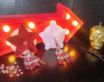 Sequinned Red and White Star Nipple Covers with Tassels