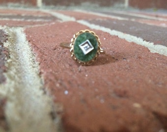 Jade and Silver 10k Gold Ring