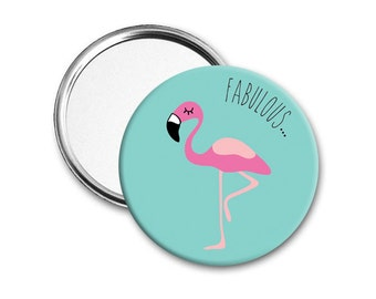 Flamingo mirror - Pocket mirror - Hand mirror - Round mirror - Compact mirror - Birthday gift