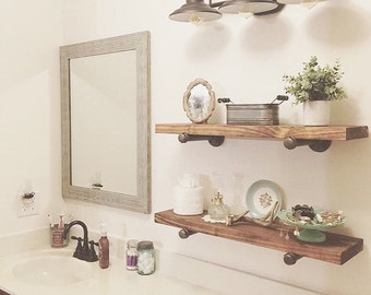 "Industrial Floating Shelves, Set of 3 Bathroom Shelves, 8"" Depth Pipe Shelves, Bathroom Storage Rustic Open Shelving Organization"