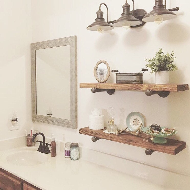 Pipe Shelves Kitchen: Industrial Floating Shelves Set Of 3 Bathroom Shelves