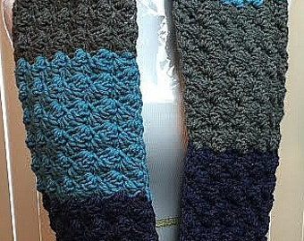 CLEARANCE SALE Blue and Gray Scarf, Crochet Scarf, Blue Infinity Scarf, Blue Crochet Scarf, Chunky Scarf, Crocheted Scarf, Gifts for Her