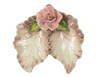 Vintage Capodimonte Rose Flower Candy Dish Vanity Trinket Tray Divided Leaves Pink