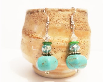 Turquoise Earrings, BUY 2 Get 1 FREE! Trendy Hand Made