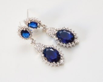 Blue Wedding Earrings, Something Blue, Bridal Drop Earrings, Sapphire Wedding Earrings, Sapphire Blue Earrings, Ref DANIELA