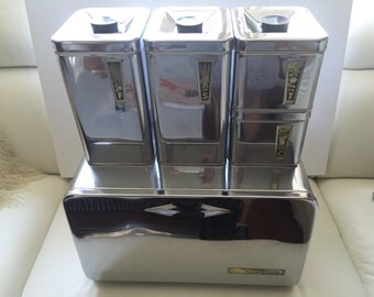 Retro Set of Metal Canisters Chrome Tecoware for Eatons Canada Atomic Age Mid Century Modern Kitchen