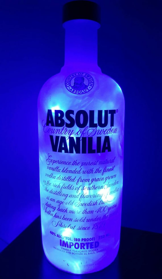 Handmade Blue LED 8-Mode Absolut Vanilia Vodka Liquor Bottle Lamp