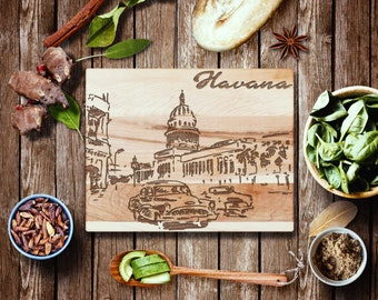 Old Cuban Car in Havana Cutting Board, Laser Engraved Cuba Art - Made in USA