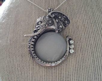 Sterling Silver Gem Encrusted Elephant Necklace