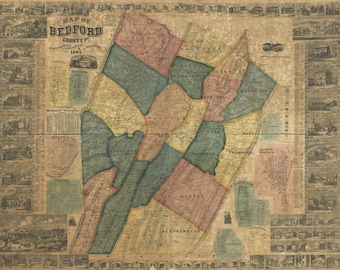 1861 Map of Bedford County PA Genealogy