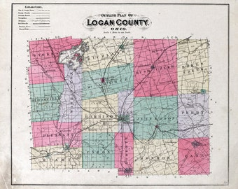1890 Map of Logan County Ohio