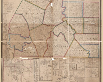 1860 Farm Line Map of Ross County Ohio Bainbridge Chillicothe