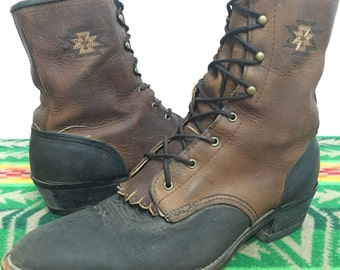two tone leather western lace up boots cowboy brown black color made in usa womens size 10