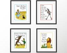 Wonderful Wizard of Oz L. Frank Baum Set of Four Children's Book Quote Decorative Art Prints