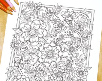 Lovely Floral garden - Adult Coloring Page Print