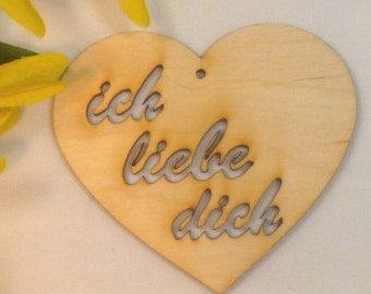 I love you Valteninstag gift trailer 7 x 8 cm wooden heart fine Birch plywood, wooden heart