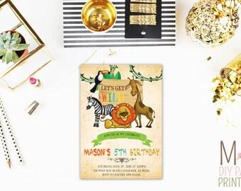 Cute zoo Invite_4,Safari Party Invitation,Jungle Birthday Invitation, Zoo Invitation, Safari Invitation,Jungle Party, Safari Invitation