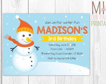 Frosty Cold Snowman Invitation, Snowman Invitations, Snowman Birthday Party,Christmas invitation, Christmas Party, Snowman Invite