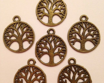 Tree Charm Beads, Bronze Tone, Set of 6, UK Seller, Posted Next Working Day