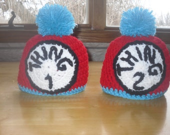 Thing 1 and Thing 2 Crochet Baby Hat Set, Matching Baby Hats Dr. Seuss Thing 1 and Thing 2, The Cat in The Hat, Twin Gift Set, Twins