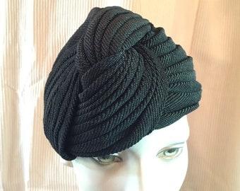 Vintage Turban Black Braided Satin~ Lined Vintage Hat-1940's