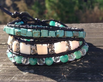 Leather wrap bracelet/ turquoise, white and silver