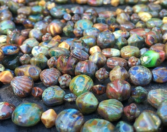 Czech Picasso beads. Lot of two hanks