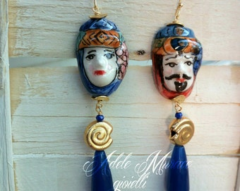 King and Queen * earrings Sicilian masks
