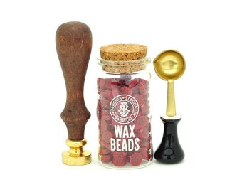 Wax Seal Stamp and Wax Beads Set - Letter A to M
