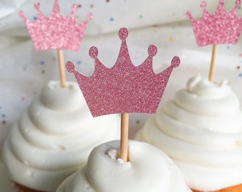 Pink Glitter Crown Cupcake Toppers • Birthday • Baby Shower • Food Picks