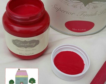 Everlong Chalk Paint Shabby Chic Furniture Miss Scarlet 100ml Tester