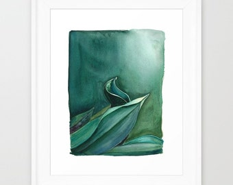 """Green on Green Watercolor Painting Art Print (8.5x11"""")"""