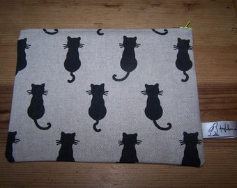 Black cat print fabric wash bag, cosmetic bag, pencil case.  Cat lovers gift, Christmas birthday, gift for her, teacher gift, student gift