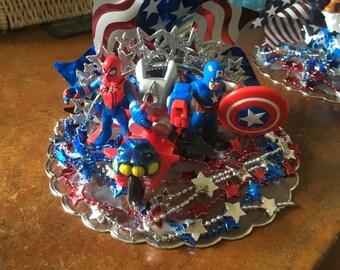Marvel Comics Cake Topper Captain America and Spiderman