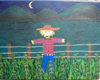 The Scarecrow Walks at Midnight oil painting
