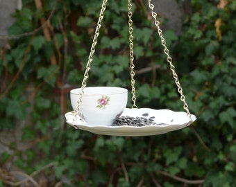 Tea Cup Bird Feeder with Roses